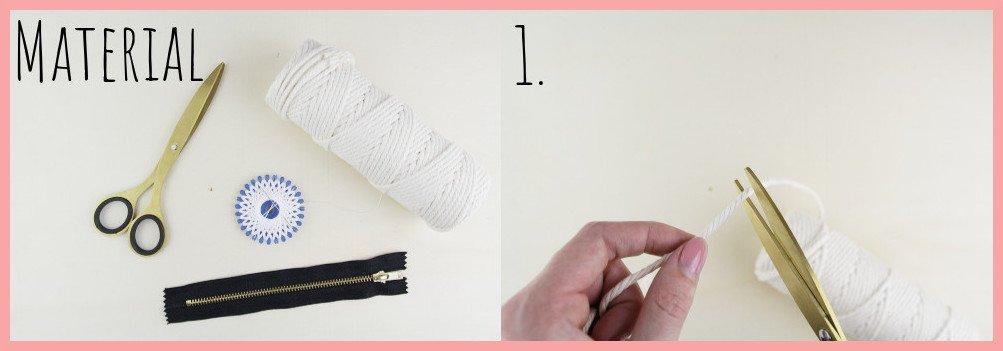 Makramee DIY Portemonnaie selber machen mit frau friemel - Material und Schritt 1