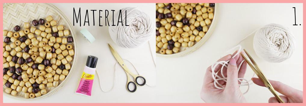 Perlentasche selber machen mit frau friemel - Material und Schritt 1