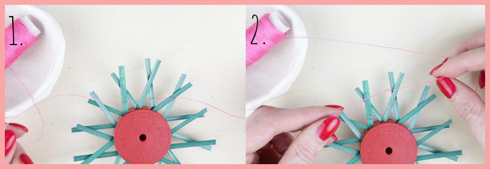 Strohsterne basteln mit flachen Stroh mit frau friemel - Schritt 1-2