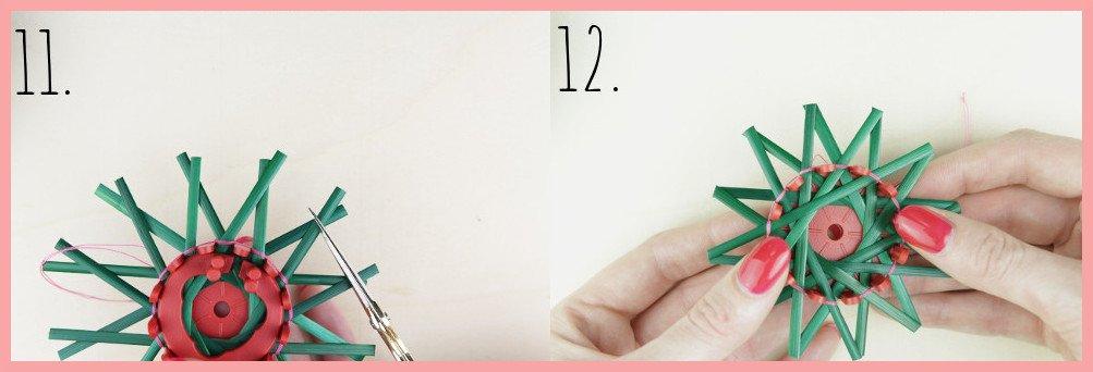 Strohsterne basteln mit flachen Stroh mit frau friemel - Schritt 11-12
