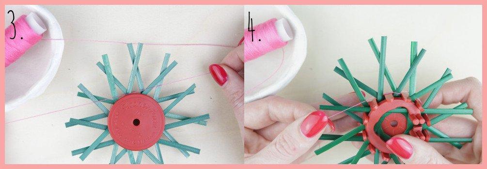 Strohsterne basteln mit flachen Stroh mit frau friemel - Schritt 3-4