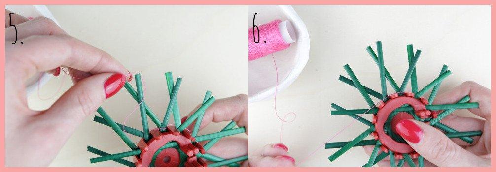 Strohsterne basteln mit flachen Stroh mit frau friemel - Schritt 5-6