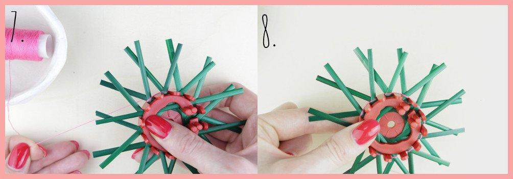 Strohsterne basteln mit flachen Stroh mit frau friemel - Schritt 7-8