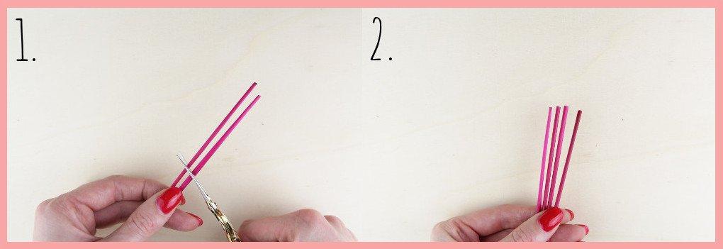 Strohsterne basteln mit runden Stroh mit frau friemel - Schritt 1-2