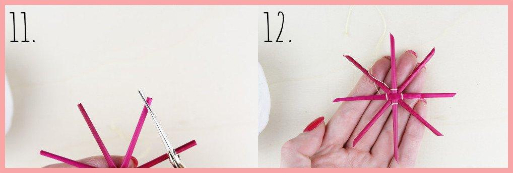 Strohsterne basteln mit runden Stroh mit frau friemel - Schritt 11-12