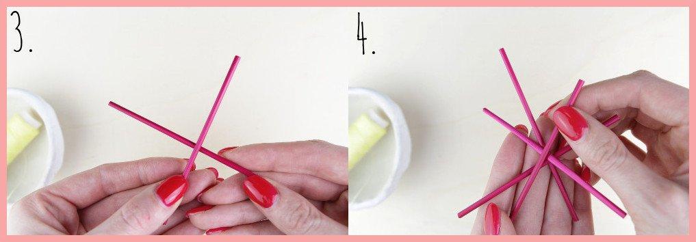 Strohsterne basteln mit runden Stroh mit frau friemel - Schritt 3-4