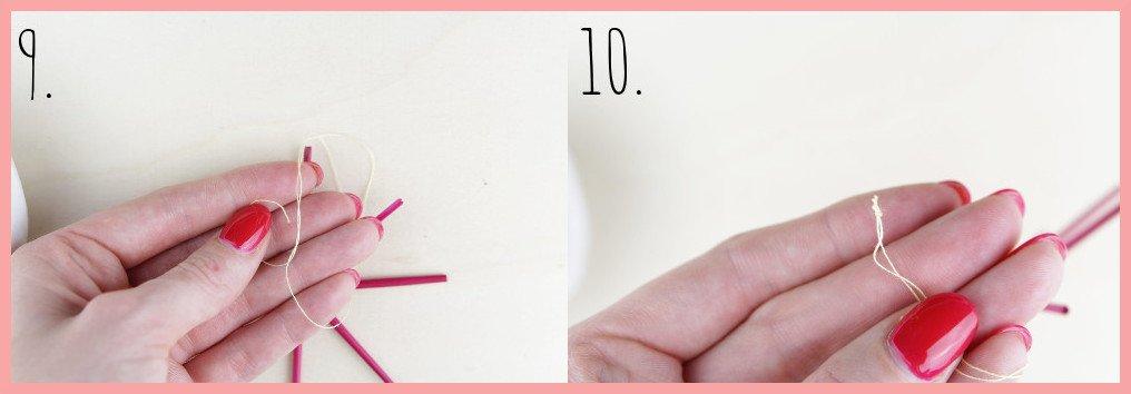 Strohsterne basteln mit runden Stroh mit frau friemel - Schritt 9-10