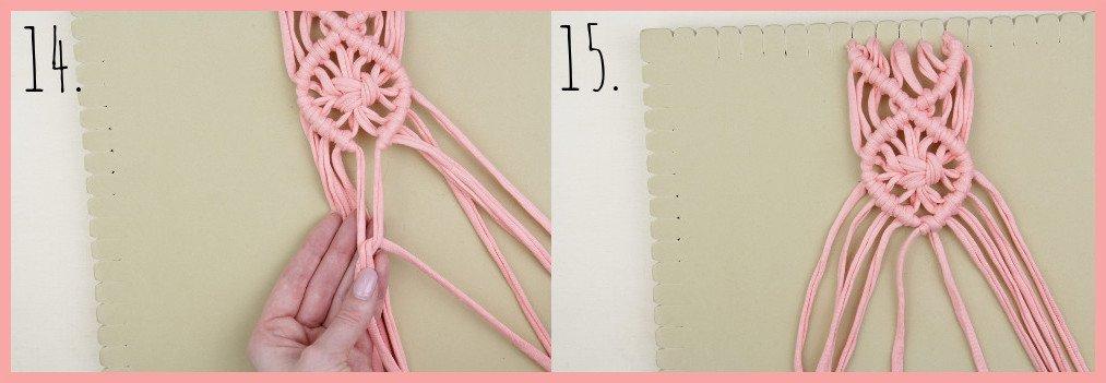 Wärmendes Haarband selber machen mit Makramee - Schritt 14-15