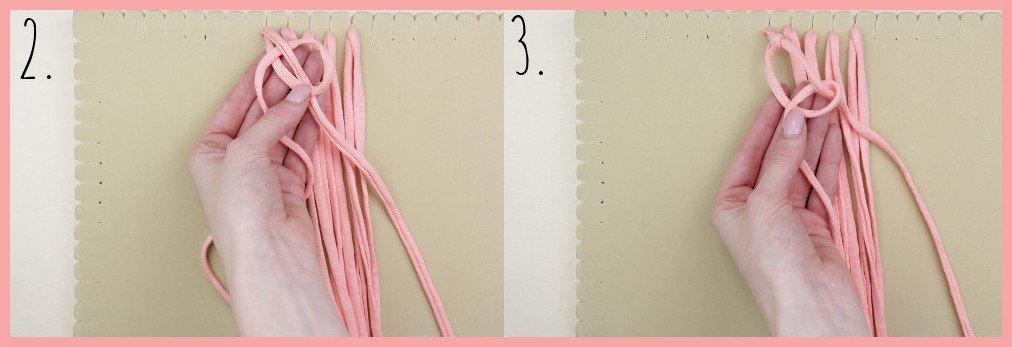 Wärmendes Haarband selber machen mit Makramee - Schritt 2-3