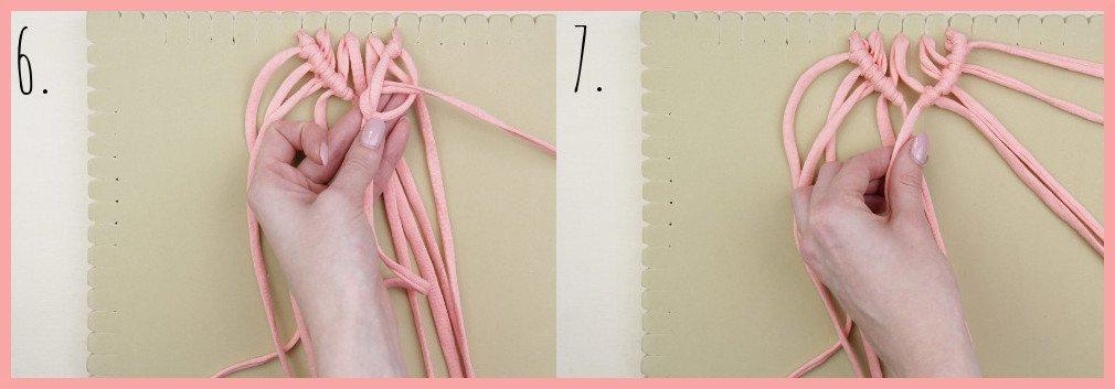 Wärmendes Haarband selber machen mit Makramee - Schritt 6-7