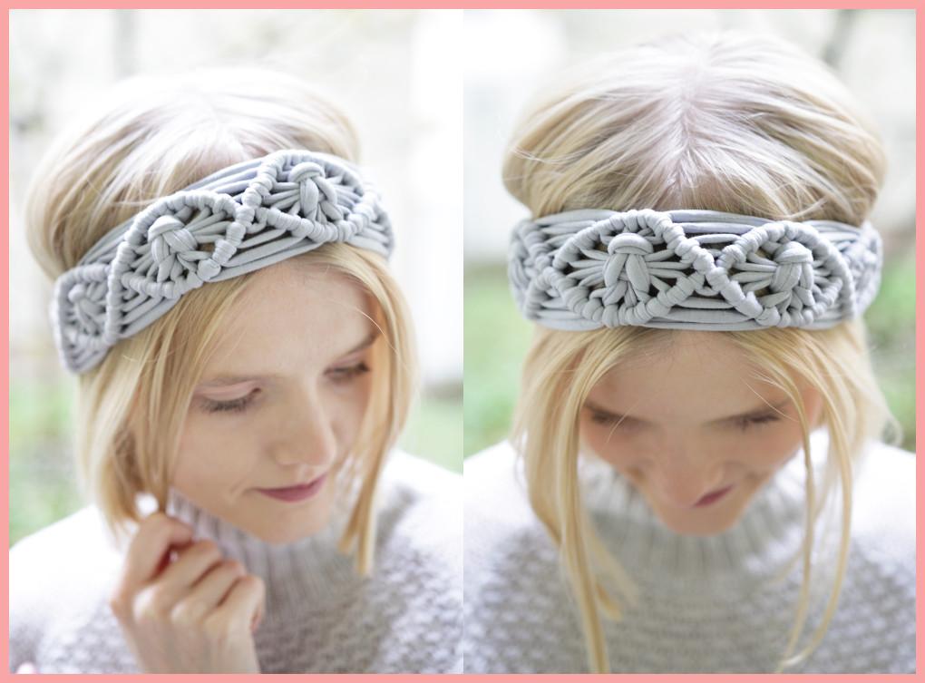 Graues Makramee Haarband im Detail
