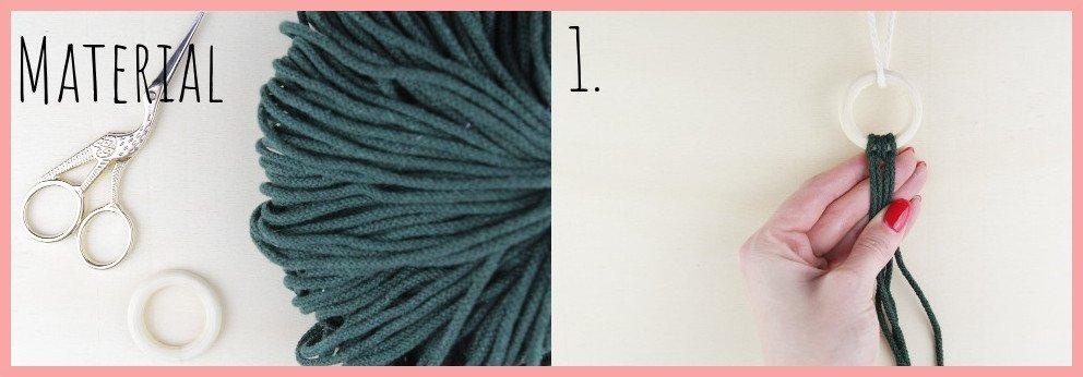 Makramee Weihnachtsanhänger basteln mit frau friemel - Material und Schritt 1