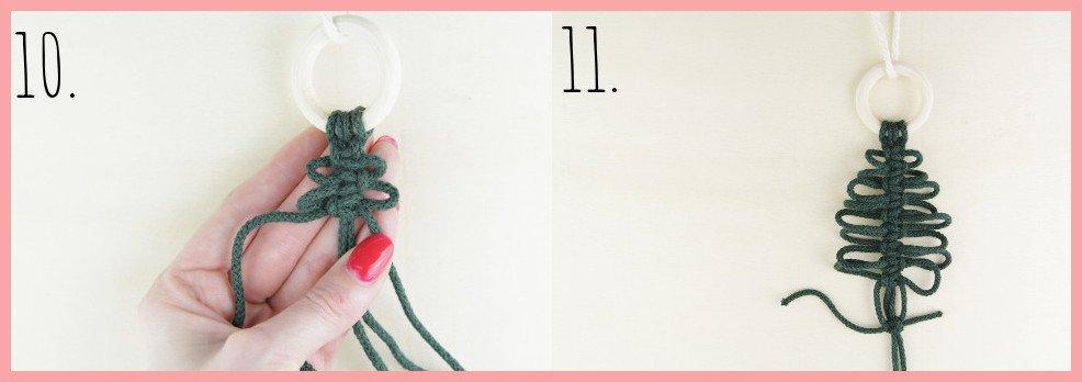 Makramee Weihnachtsanhänger basteln mit frau friemel - Schritt 10-11