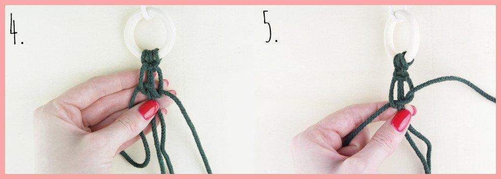 Makramee Weihnachtsanhänger basteln mit frau friemel - Schritt 4-5