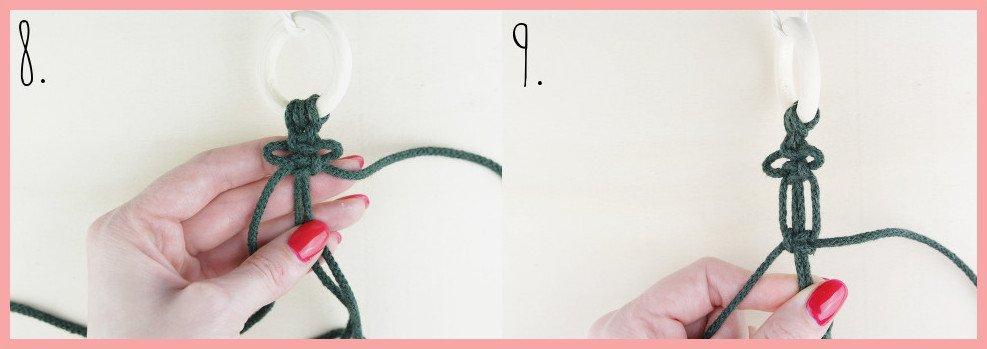 Makramee Weihnachtsanhänger basteln mit frau friemel - Schritt 8-9