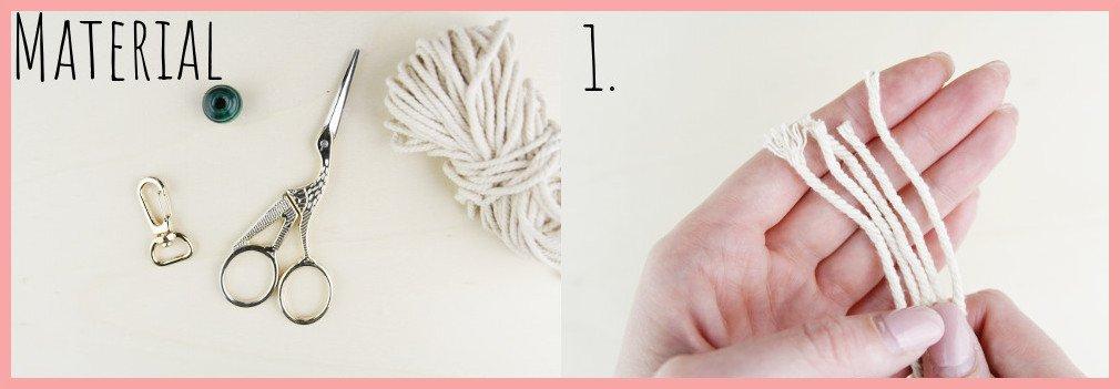 Makramee Schlüsselanhänger knüpfen Kreuzknoten mit Perle - Schritt 1