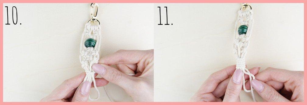 Makramee Schlüsselanhänger knüpfen Kreuzknoten mit Perle - Schritt 10-11