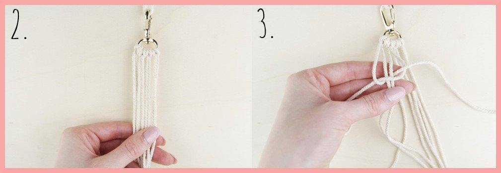 Makramee Schlüsselanhänger knüpfen Kreuzknoten mit Perle - Schritt 2-3