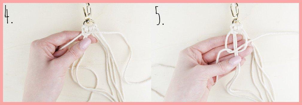 Makramee Schlüsselanhänger knüpfen Kreuzknoten mit Perle - Schritt 4-5