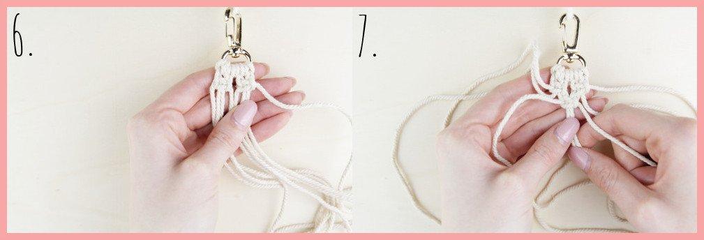 Makramee Schlüsselanhänger knüpfen Kreuzknoten mit Perle - Schritt 6-7