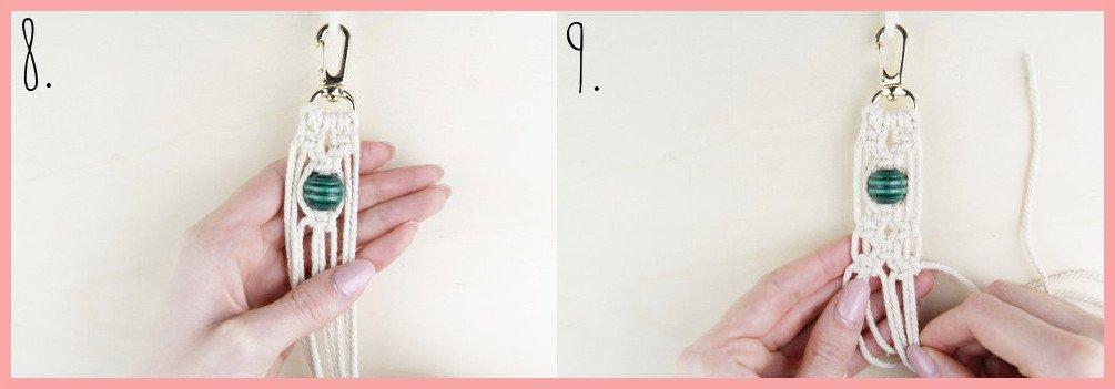 Makramee Schlüsselanhänger knüpfen Kreuzknoten mit Perle - Schritt 8-9