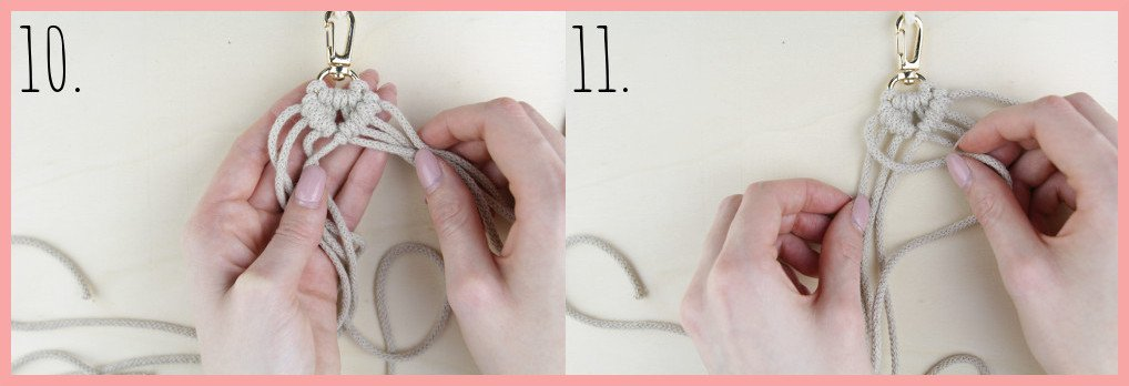 Makramee Schlüsselanhänger knüpfen in Fahnenform - Schritt 10-11