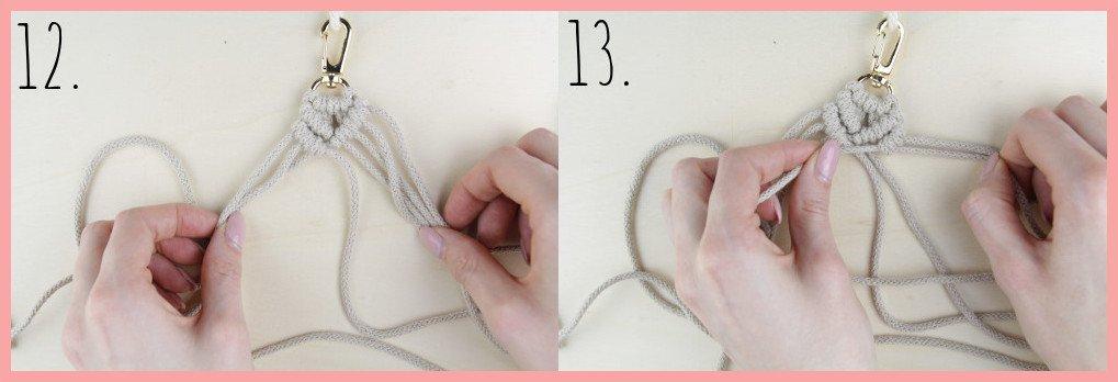 Makramee Schlüsselanhänger knüpfen in Fahnenform - Schritt 12-13