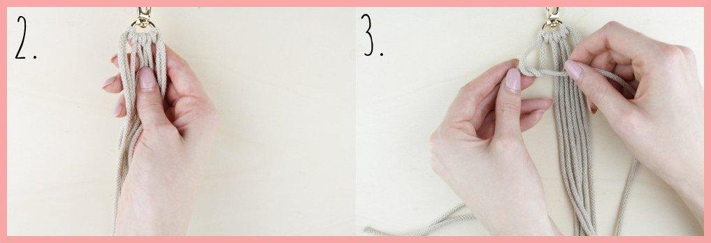 Makramee Schlüsselanhänger knüpfen in Fahnenform - Schritt 2-3