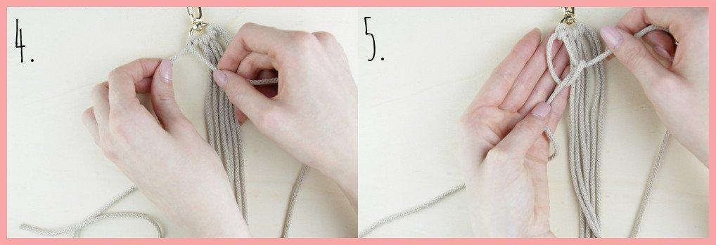 Makramee Schlüsselanhänger knüpfen in Fahnenform - Schritt 4-5