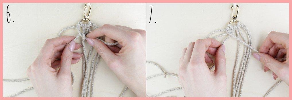 Makramee Schlüsselanhänger knüpfen in Fahnenform - Schritt 6-7