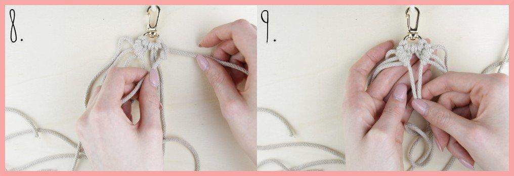 Makramee Schlüsselanhänger knüpfen in Fahnenform - Schritt 8-9