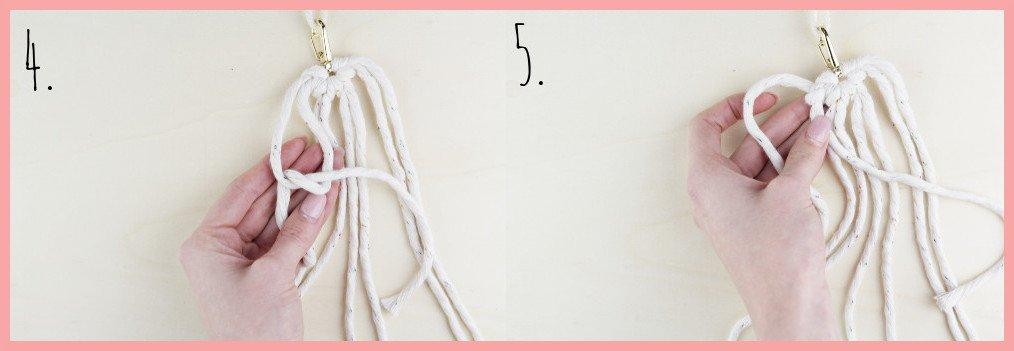 Makramee Schlüsselanhänger knüpfen in Herzform - Schritt 4-5
