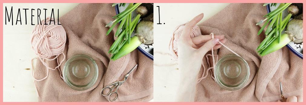 Blumentöpfe gestalten mit Makramee frau friemel - Material und Schritt 1