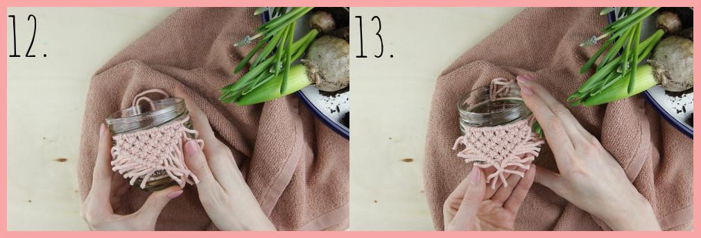 Blumentöpfe gestalten mit Makramee frau friemel - Schritt 12-13