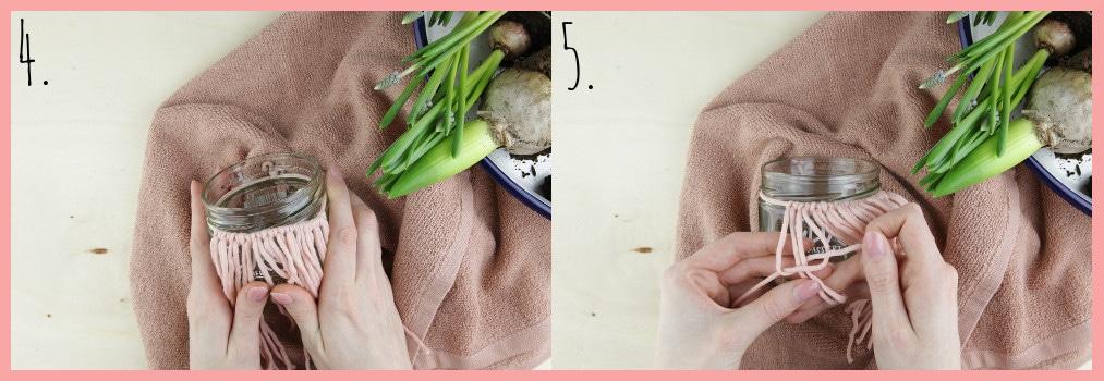 Blumentöpfe gestalten mit Makramee frau friemel - Schritt 4-5