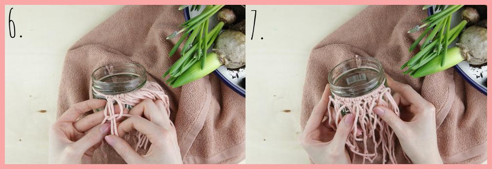 Blumentöpfe gestalten mit Makramee frau friemel - Schritt 6-7