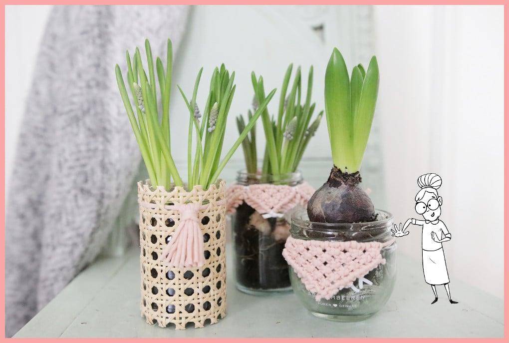 Blumentöpfe gestalten mit Makramee und Wiener Geflecht
