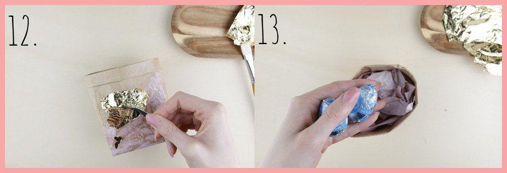 Osterkörbchen basteln aus Milchtüten mit frau friemel - Schritt 12-13