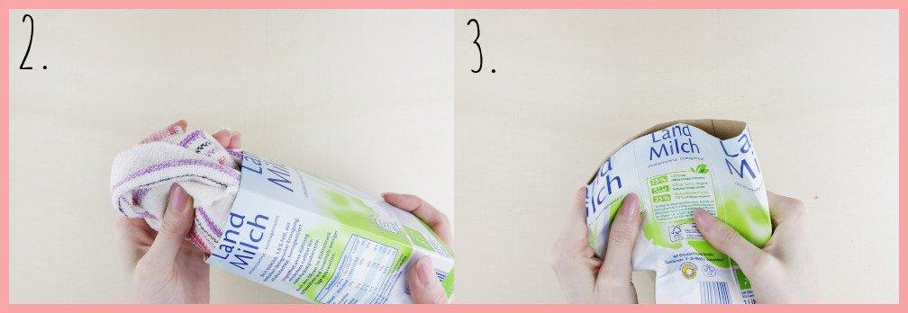 Osterkörbchen basteln aus Milchtüten mit frau friemel - Schritt 2-3