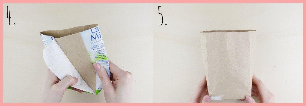 Osterkörbchen basteln aus Milchtüten mit frau friemel - Schritt 4-5