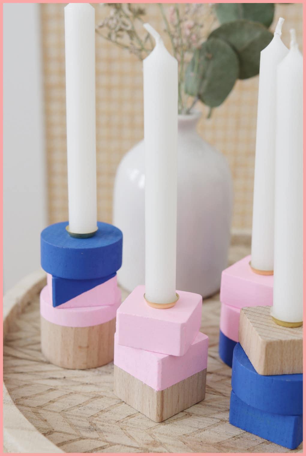 Kerzenständer aus Holz selber machen mit frau friemel