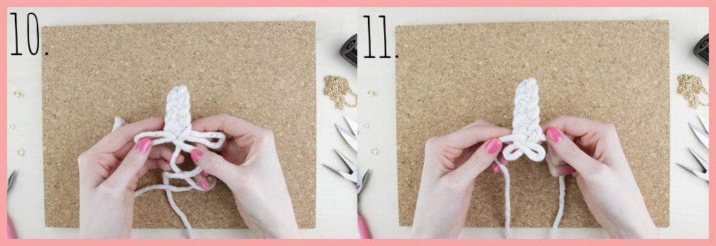 Knoten Kette selber machen mit keltischen Knoten - Schritt 10-11