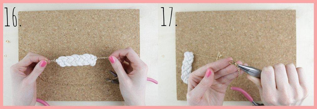 Knoten Kette selber machen mit keltischen Knoten - Schritt 16-17
