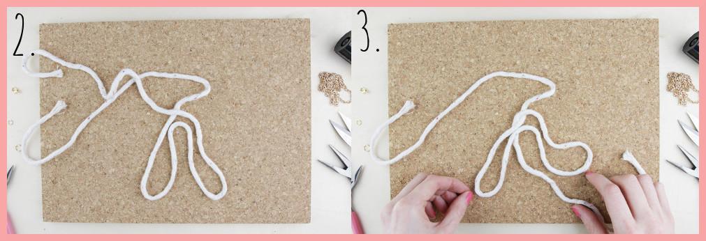 Knoten Kette selber machen mit keltischen Knoten - Schritt 2-3