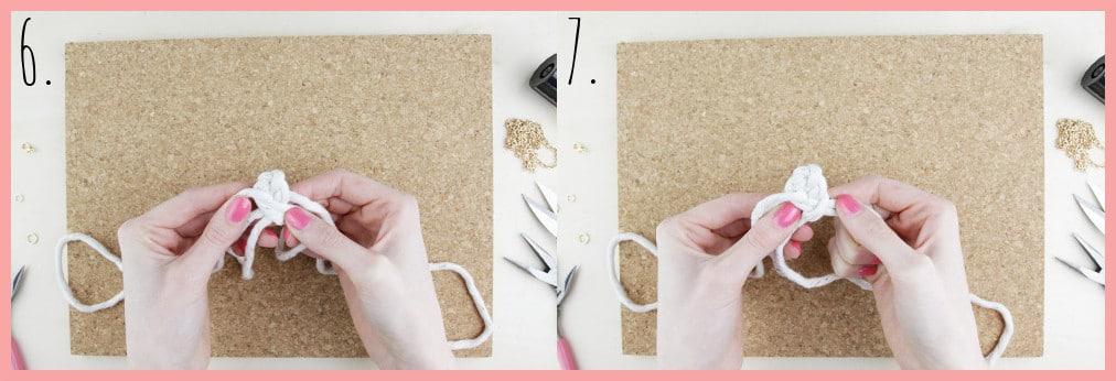Knoten Kette selber machen mit keltischen Knoten - Schritt 6-7