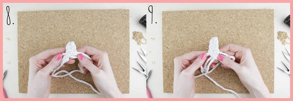 Knoten Kette selber machen mit keltischen Knoten - Schritt 8-9