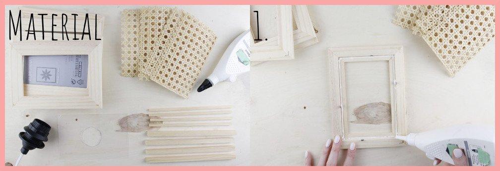 IKEA Hack Lampe selber machen mit Wiener Geflecht - Material und Schritt 1