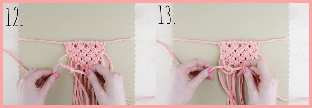 Makramee Kette selber machen - Schritt 12-13