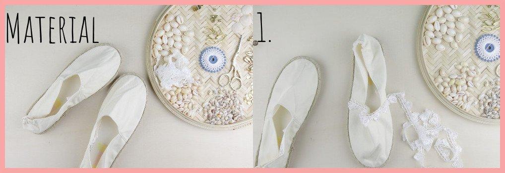 Sommerschuhe mit Muscheln selbermachen - Material und Schritt 1