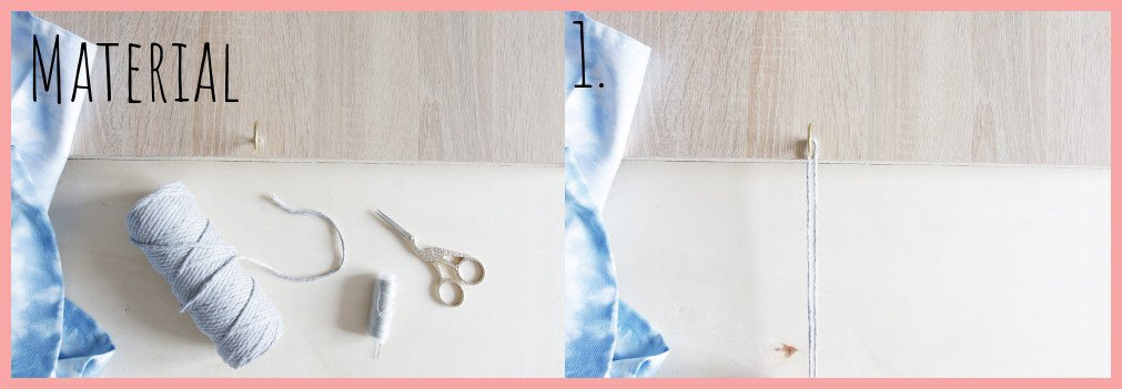 Serviettenringe basteln mit Makramee - Material und Schritt 1